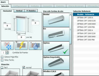 Software for air curtain offers calculation and generation
